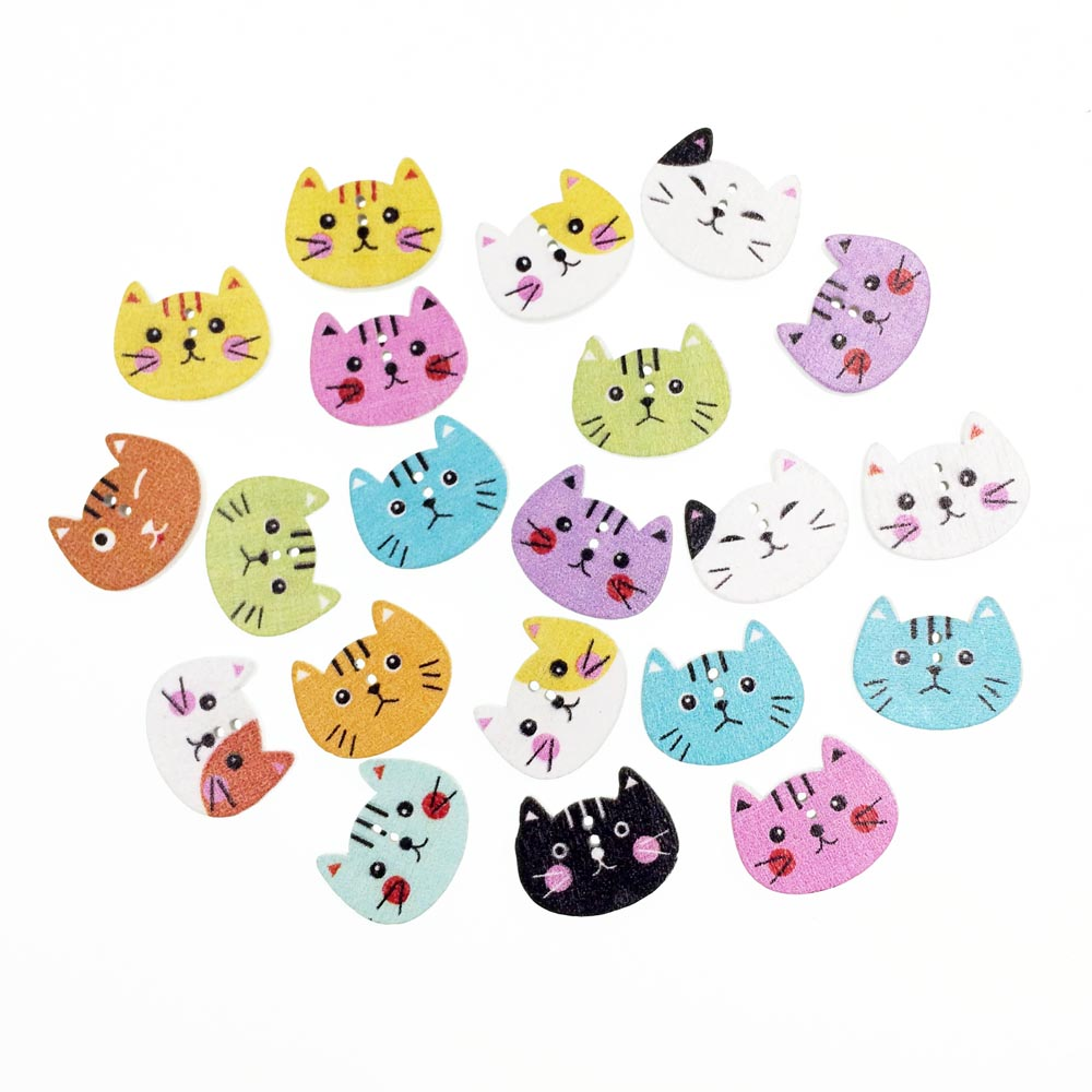 50Pieces Cat DIY Wooden Buttons For Clothing Scrapbooking Accessories Decorative Button Craft Sewing Supplies Wholesale 16*20mm button