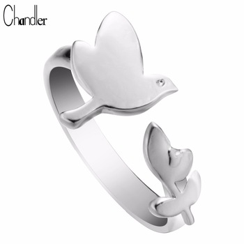 Wholesale 10pcs Silver Gold Plated Bird Leaf Ring Free Size Alloy Metal Size Simple Jewelry For Women Wedding Band Drop Shipping