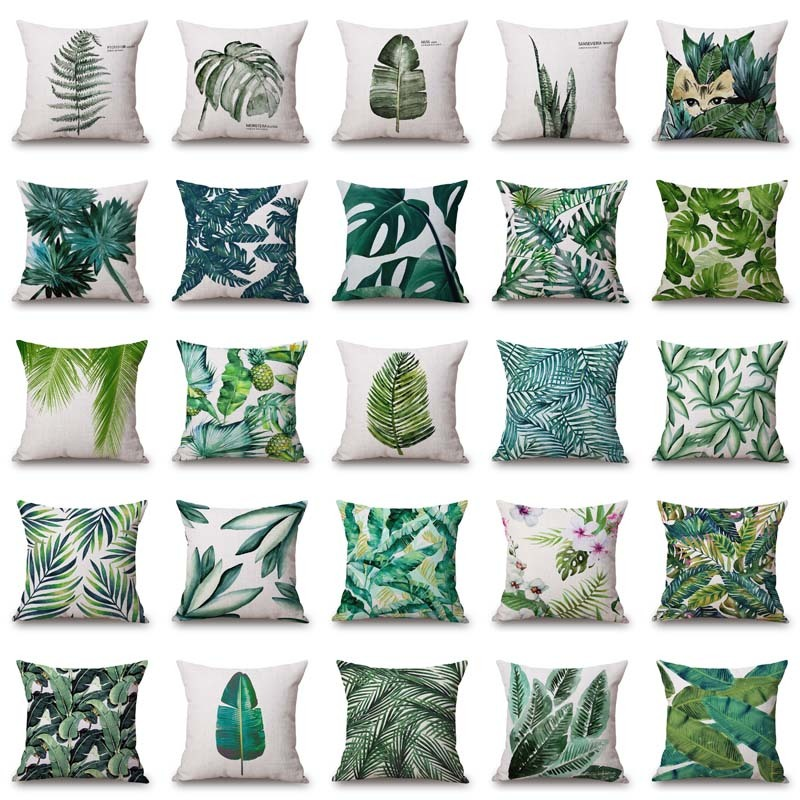 Plant Cushion Cover Tropic Tree Green Throw Pillow Cover palm leaf Decorative Pillows F ...