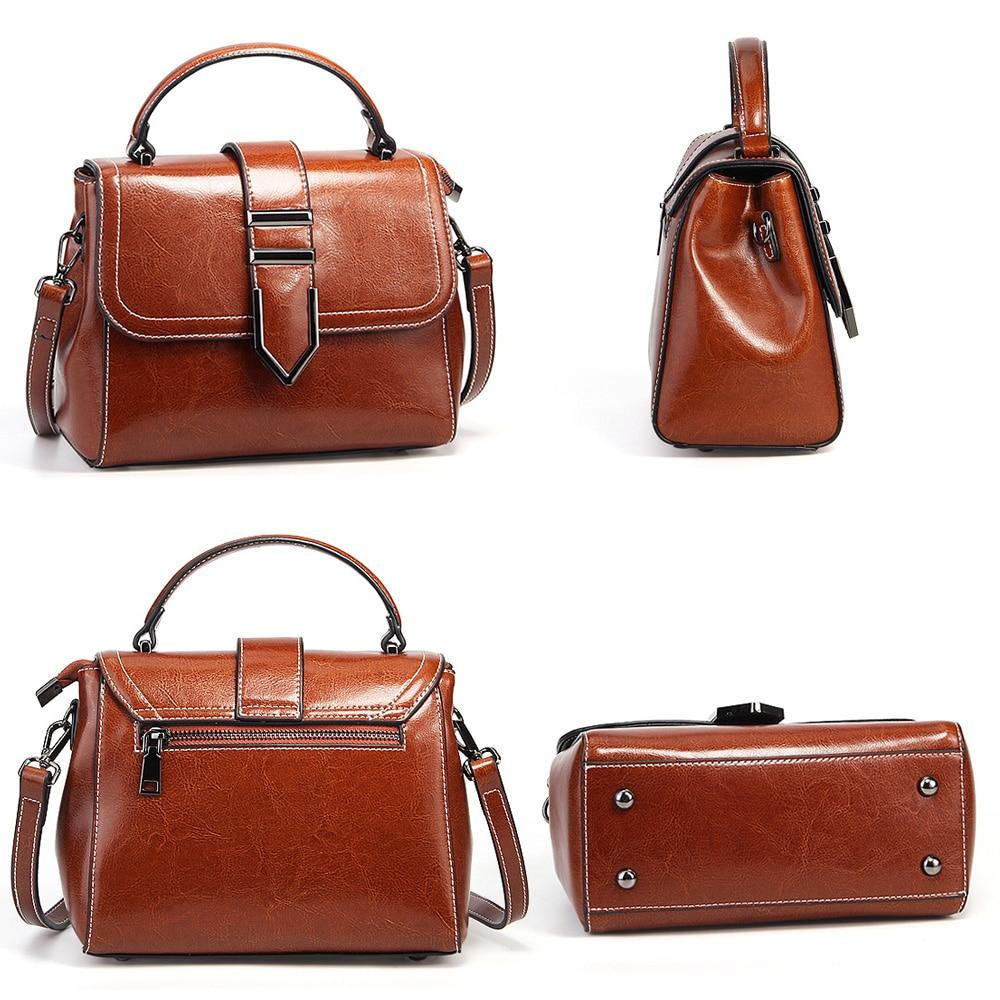 Image 3 - Zency Vintage Women Handbag 100% Genuine Leather Top Handle Tote  Bag Retro Brown High Quality Lady Crossbody Messenger PurseTop-Handle  Bags