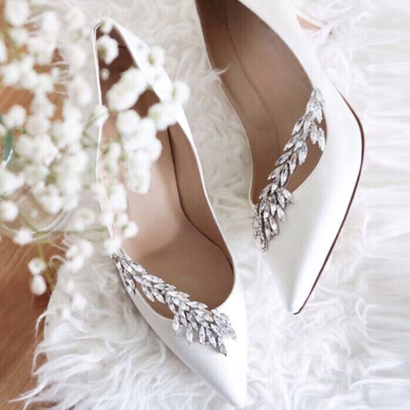 Wheatear Crystal Silk Nadira Jeweled Bridal Pumps Women Shoes Runway Pointy Toe Club Women Heels Sexy Ladies Party Wedding Shoes