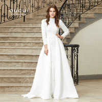 Real Photo A-Line High Collar Formal Prom Dresses Long Sleeve Sexy Womens Evening Gowns 2019 White Robe Sirene Oucui OL103025B