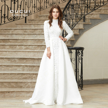 Real Photo A-Line High Prom Dresses Long Sleeve Oucui