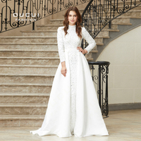 Real Photo A Line High Collar Formal Prom Dresses Long Sleeve Sexy Womens Evening Gowns 2019 White Robe Sirene Oucui OL103025B