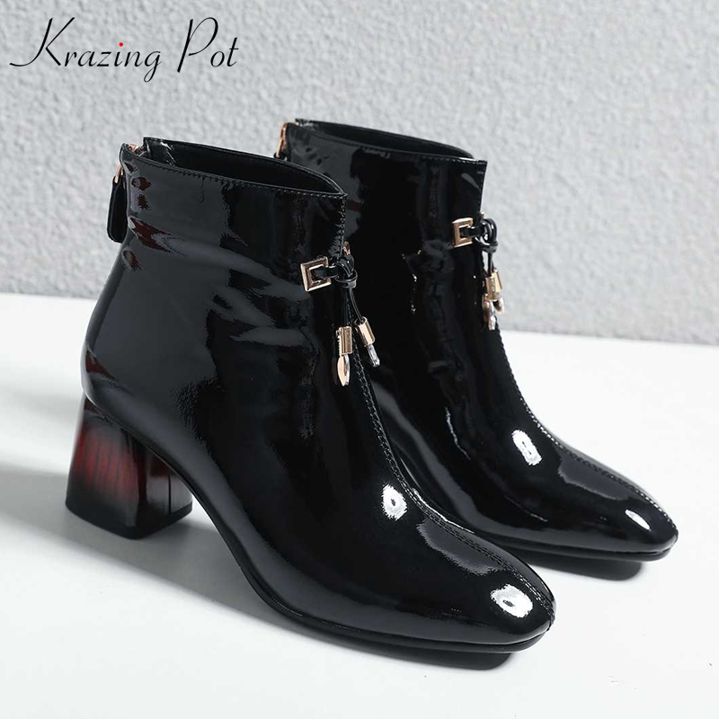 Krazing Pot genuine leather square toe high heel keep warm mixed color heels British school beauty lady Oxfords ankle boots L57-in Ankle Boots from Shoes    1