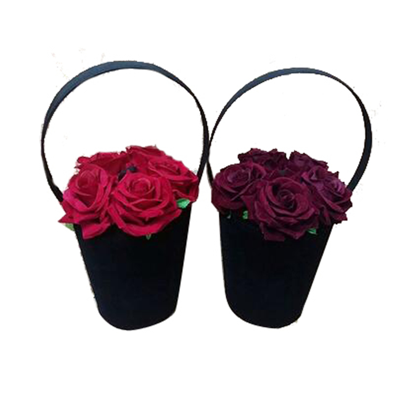 2019 Designer sac à main femmes fourre-tout Style Vintage velours seau sacs fleur artificielle sac à main rouge violet Floral petite capacité