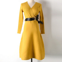 Autumn And Winter New Fashion Buckle Belt Knit Wool Waist Dress Female Solid Color Base Ladies