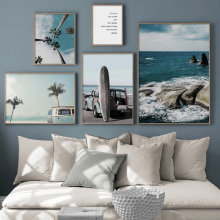 Coconut Tree Leaf travel Car Surf Sea Landscape Wall Art Canvas Painting Nordic Posters And Prints Pictures For Living Room