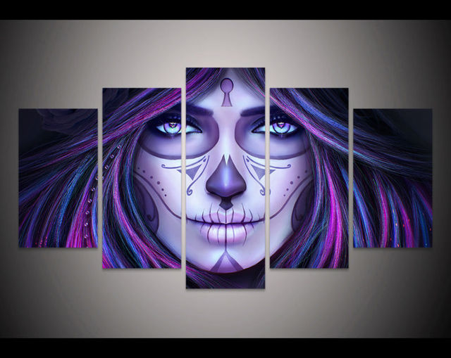 5 Panel Large Poster HD Printed Oil Painting La Catrina