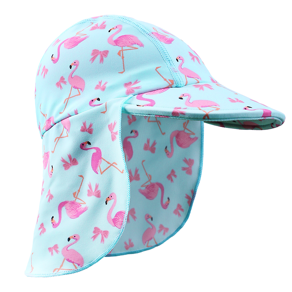New Fashion With HotPink Swan Cartoon Cute Caps Baby Girls Children Summer Sunshade Empty LightBlueSun Kids Sun Hat For 6M-4Y
