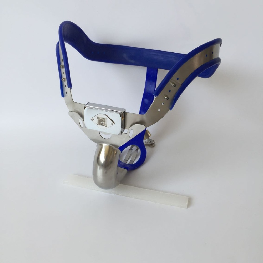 stainless steel blue Male Chastity Cages Chastity Belt Chastity Device Cock Cage Penis Lock Penis Ring Adult Game Sex Toys remote control electric shock penis ring adult sex toys for men gay couples chastity cage belt cock ring cockring penis sleeve