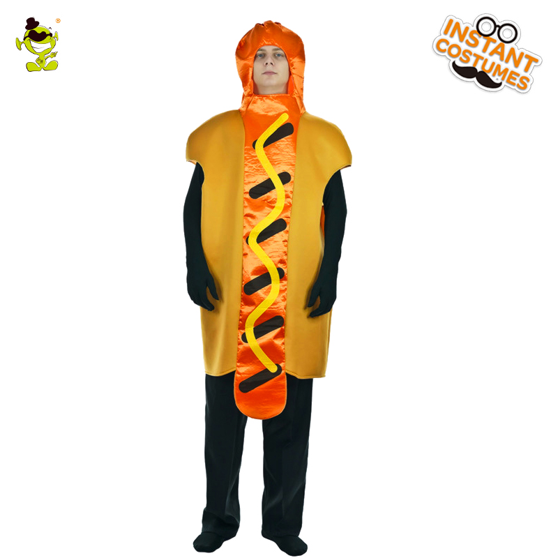 Adult Men's Hot Dog Costume Party Hooded Jumpsuit Amusing Dress Delicious Hot Dog Role Play Fancy Dress For Purim Party