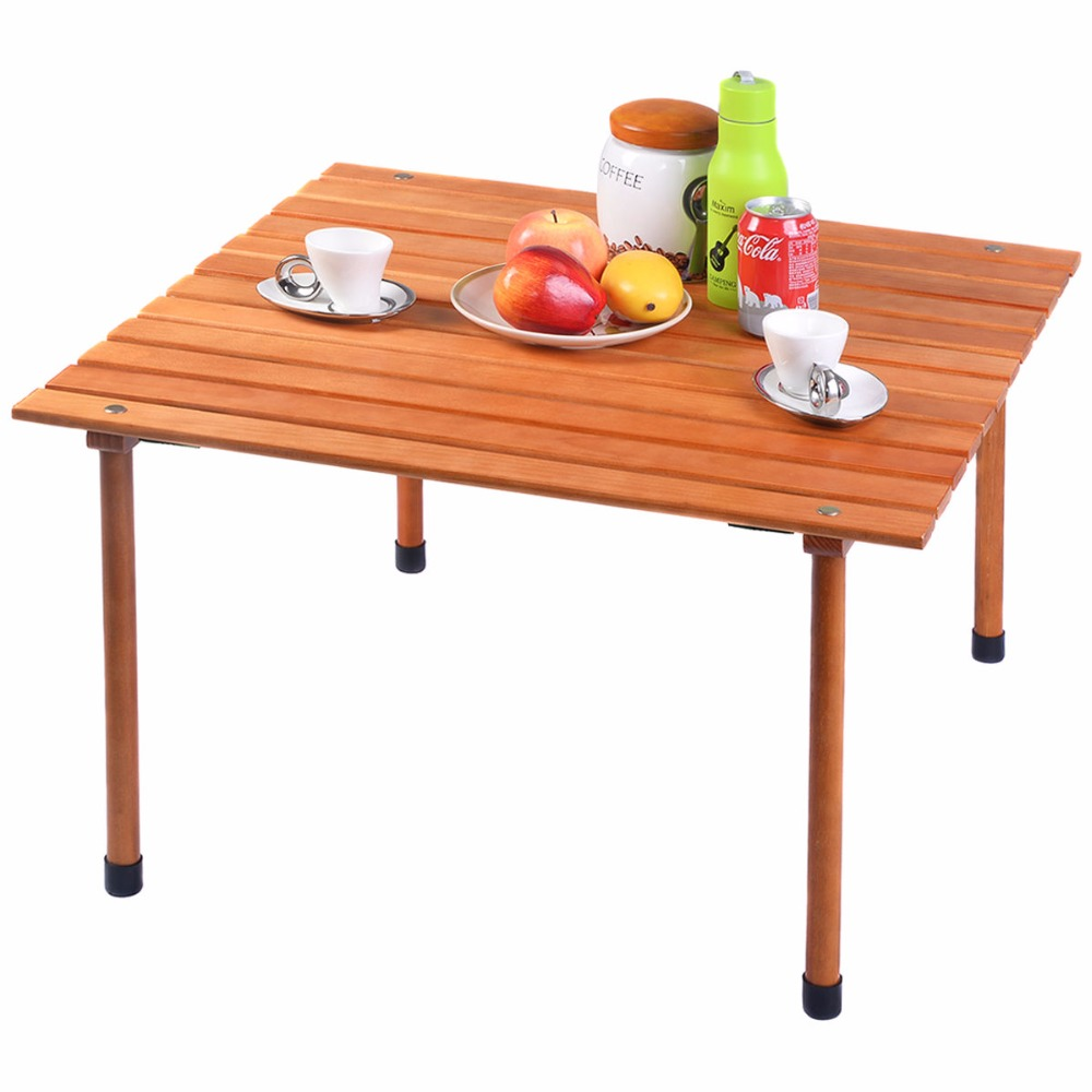 Goplus Folding Roll Up Table Portable Indoor Outdoor Picnic Party Dining Camp Tables Modern Wood Desk Home Furniture OP3558
