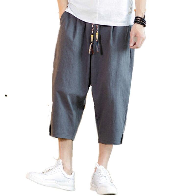 2019 New Summer Black Cropped Trousers Senior Quality Cotton Linen Long Shorts For Men Harem Pants Casual Short Pants A103K61