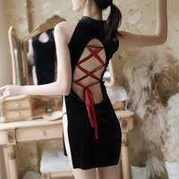Hot Erotic Backless Mini Chinese Dress Cheongsam Qi Pao Lingerie Sexy Underwear Women Velvet Qipao Hollow Out Babydoll AD0783