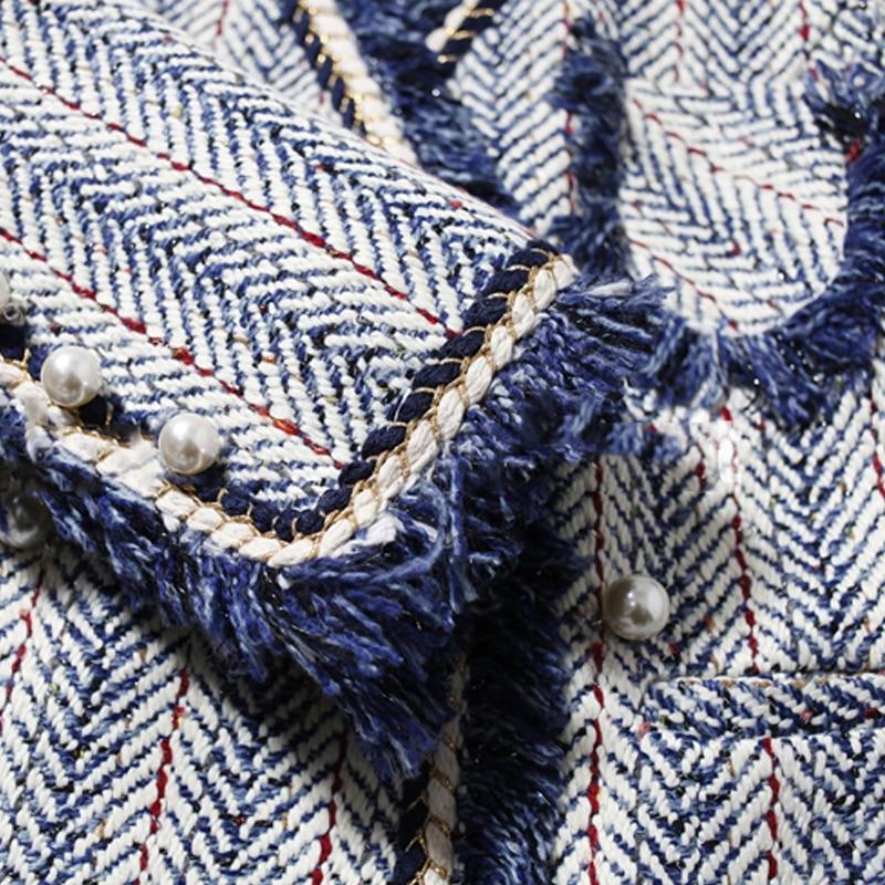 Синяя полосатая твидовая куртка 2019 Осень/Зима Женское пальто Collared Синяя Куртка женская куртка - 4