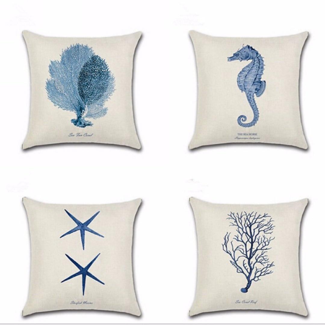 2017 Ocean Beach Sea Printed Pillow Cover Cotton Linen Cushion Cover Car Waist Home Decor Mayitr New
