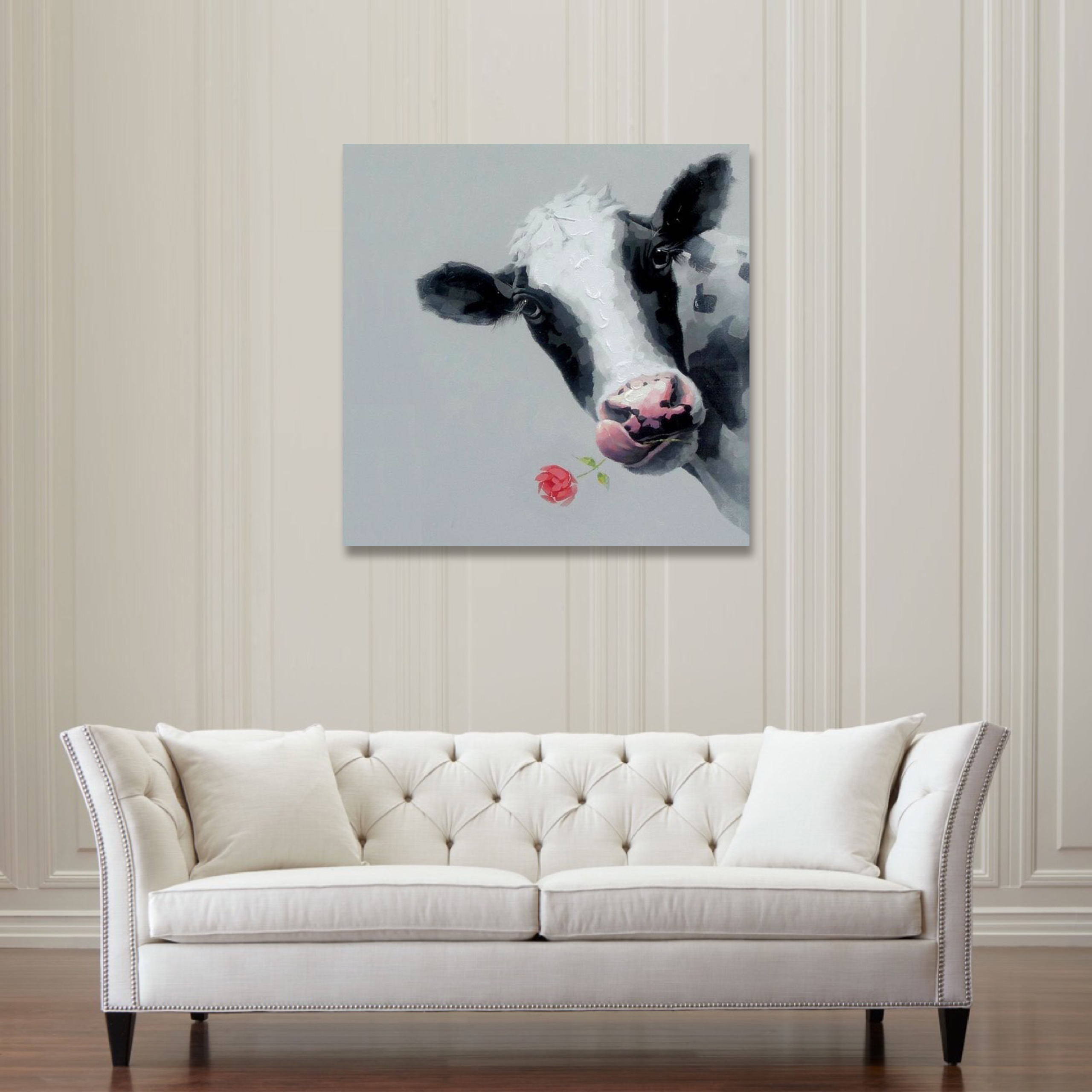 Cartoon Animal Modern Unframed Canvas Single Hand Painted Decorative Pictures Wall Oil Paintings Art Cow Free Shipping in Painting Calligraphy from Home Garden