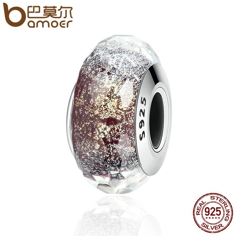 BAMOER alta calidad plata esterlina 925 patrón europeo de cristal de Murano cuentas de encanto de las mujeres pulseras y brazaletes de la joyería SCZ061