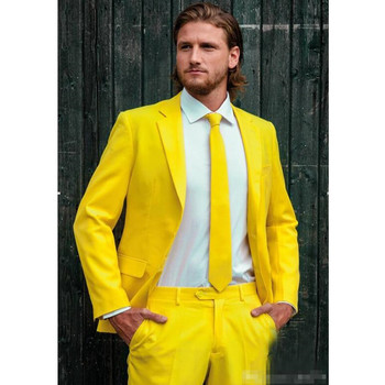 Custom Made Fashion Groom Tuxedos Yellow One Button Notch Lapel Men Suits Male Business Casual Solid Color(Jacket+Pants)