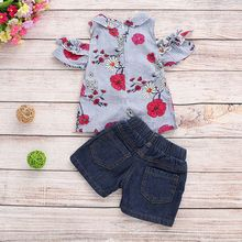 Baby Girl Clothes 2PCS Toddler Kids Girls Outfits Print Strapless Shoulder Top+Demin Short Pants Set