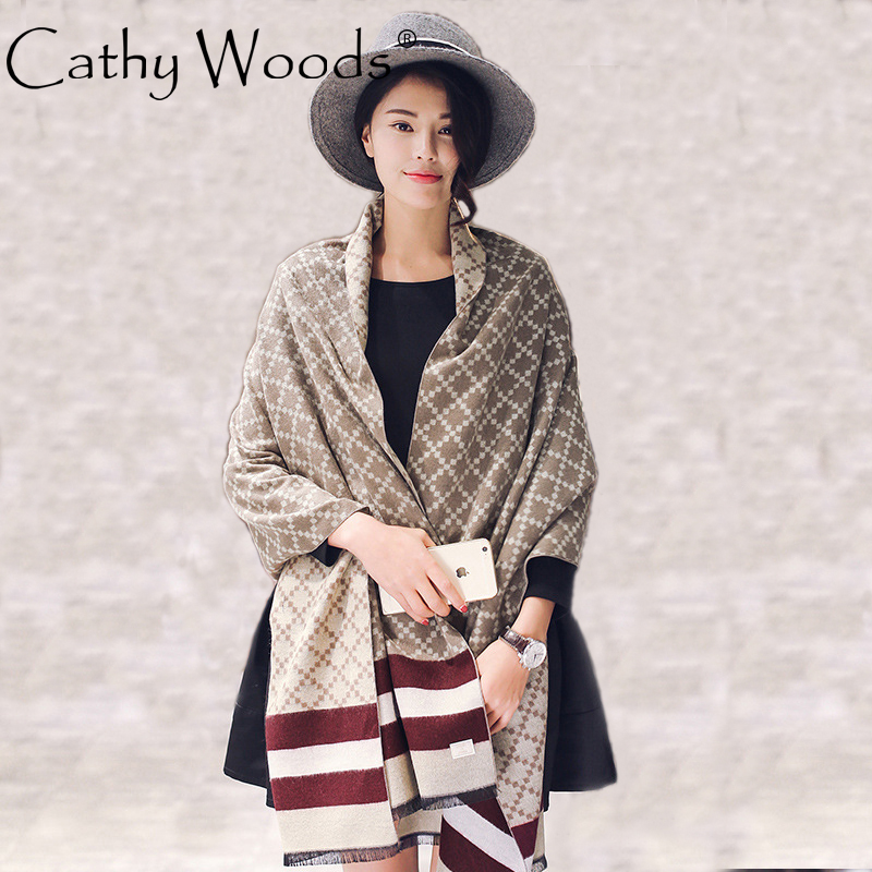 CW cashmere lattice striped print scarf shawl for women winter warm 195 * 65CM ...