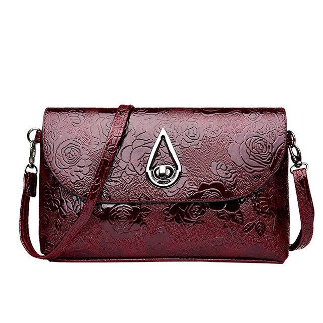 156bd438af Women Flower Pattern Tote PU Leather Messenger Bag Solid Vintage Luxury Shoulder  Bag Fashionable Lady Clutch