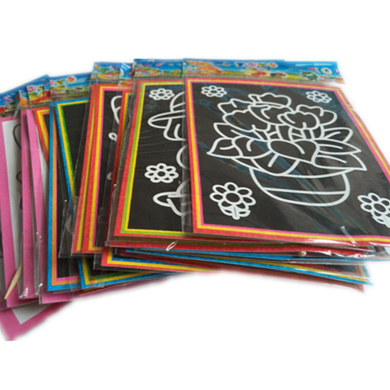 все цены на 20pcs 13*9.5cm Two-in-one Magic Color Scratch Art Paper Coloring Cards Scraping Drawing Toy Children Painting Doodle Toys ZJD