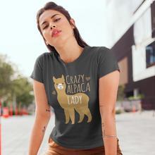 Goat T-Shirt Crazy Alpaca Lady T Shirt Pattern Short Sleeve Women tshirt XL O Neck Simple Street Fashion Gray Ladies Tee