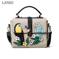 LANSO Europe And United States Style Fashion Canvas Handbags Women Birds Embroidery Lock Design Small Shoulder