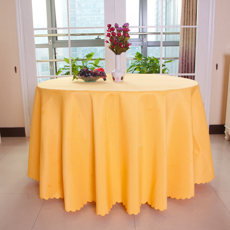 big discount 108 inch yellow round polyester tablecloth 10pclot wedding favorstable cloth
