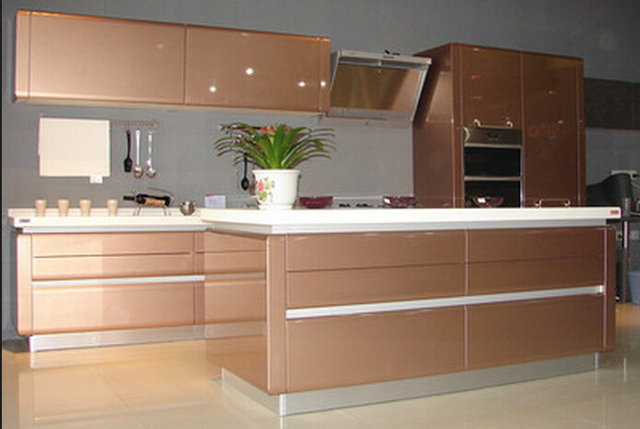 Acrylic/UV /Lacquer Door Material High Gloss Surface Treatment Kitchen  Cabinet
