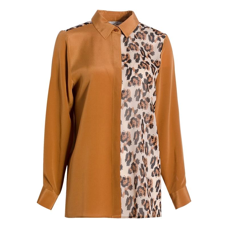 Blusa con estampado de leopardo y crepé de seda REAL de 100% para mujer, Blusa de manga larga para primavera y verano 2019, blusa para mujer - 5