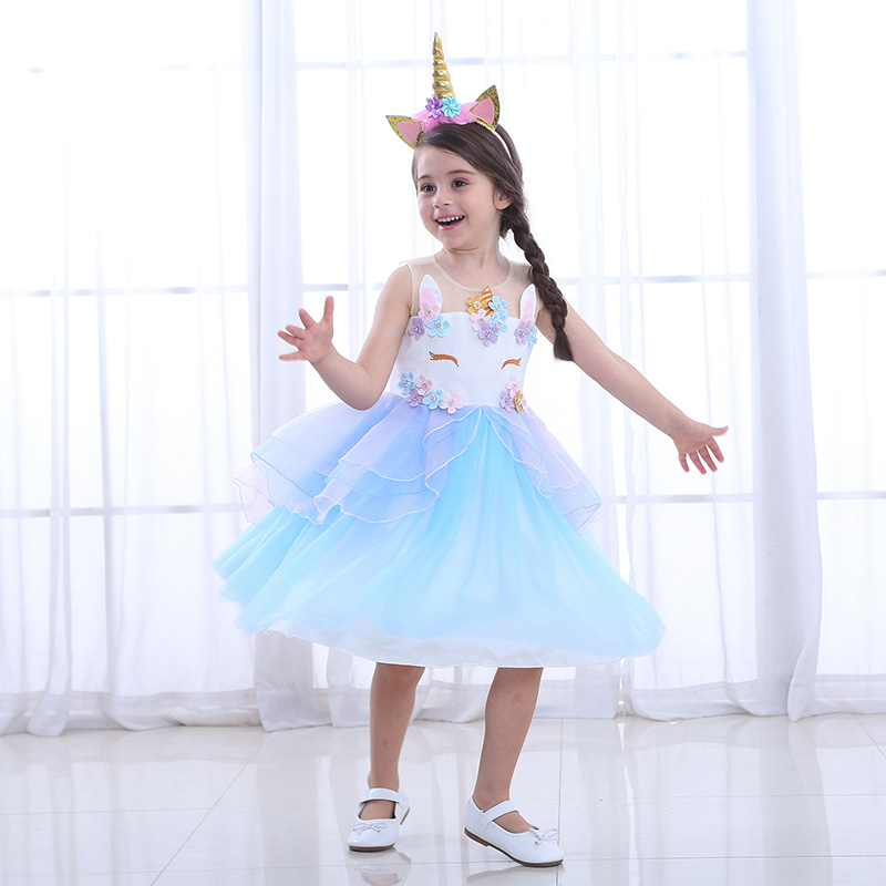 Umorden Movie Unique Deluxe Kids Unicorn Costume for Girl Halloween Carnival Party Dress Costumes Birthday Flower Tutu Dress