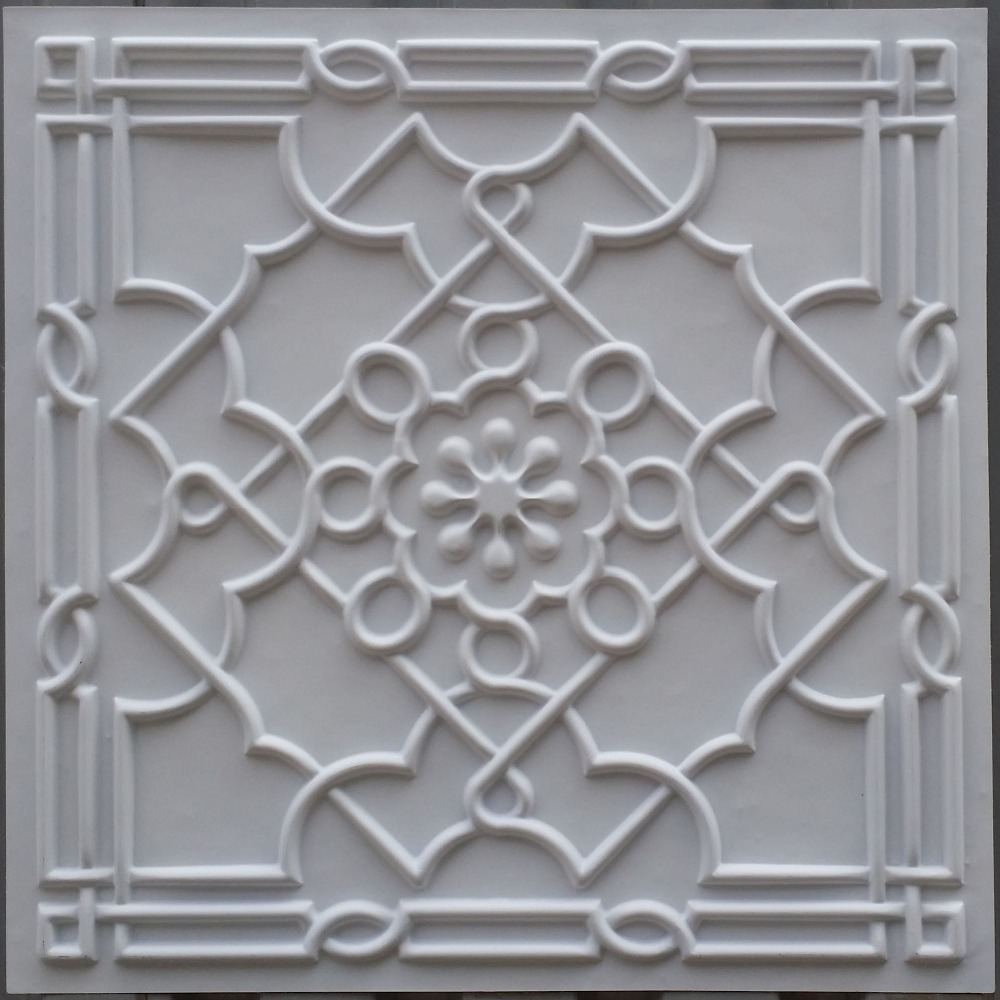 Pl09 White Matt Ceiling Tiles Pvc Plastic 3d Decoration