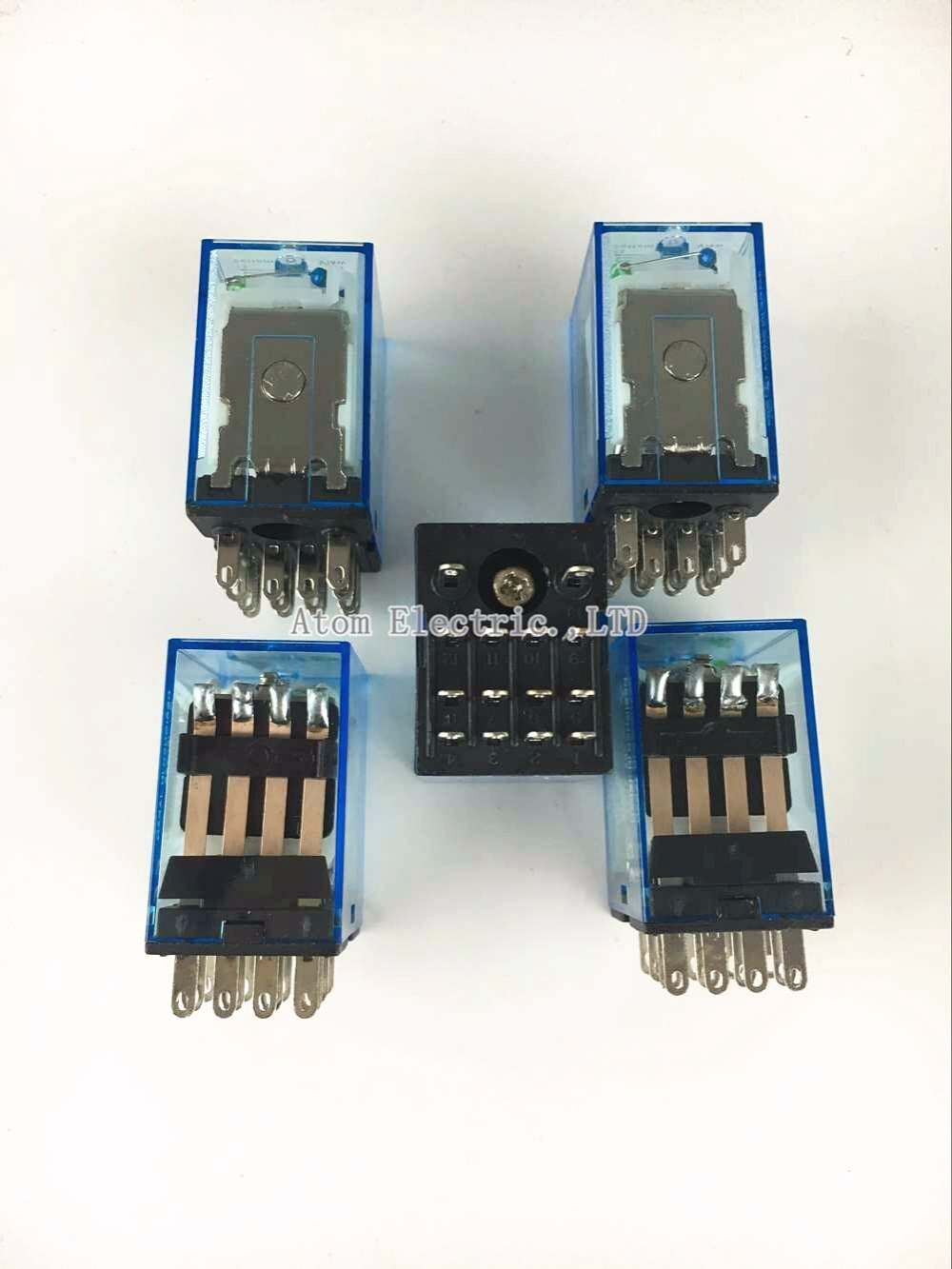 5PCS MY4NJ DC AC 24V Coil 4NO 4NC Green LED Indicator Power Relay DIN Rail 14 Pin time relay ac dc no bull