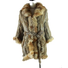 Hot Women Real Rabbit Fur Coat Natural Rex O-Neck Thin Fashion Slim Full Pelt Genuine Jacket