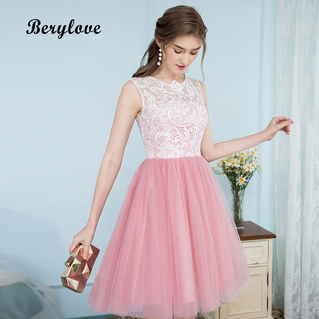 bc219f06da34 BeryLove Short Blush Pink Homecoming Dresses 2018 Mini Lace Homecoming  Dress Graduation Gowns Cocktail Party Dresses For Prom