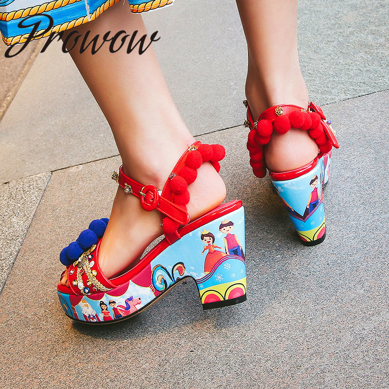 Prowow New Genuine Leather Glitter Printed Floral Summer Sandas Open Toe Platform HIgh Heel Sandals Shoes Women