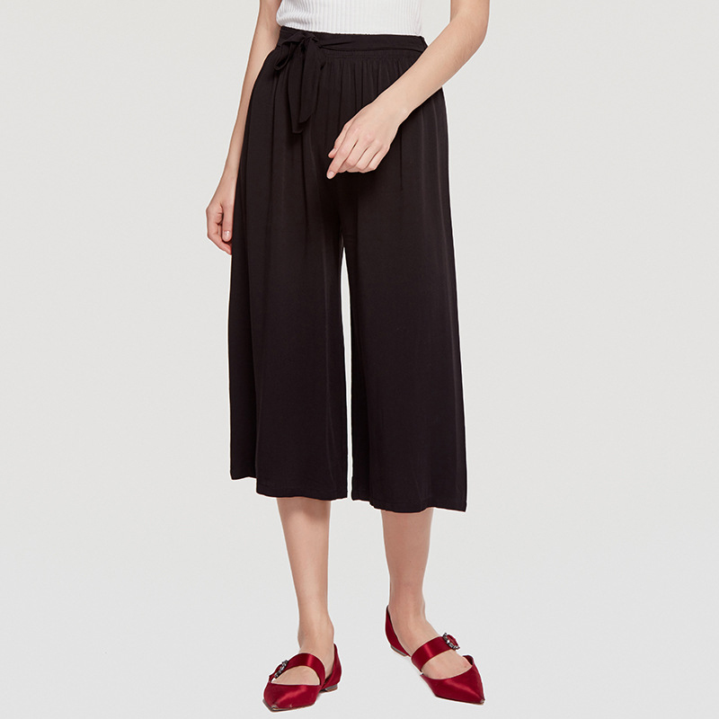 Wasteheart New Summer Women Fashion Gray Black Long Loose Pants Wide Leg Pants High Waist Knee Length Female Pants Pleated Plus
