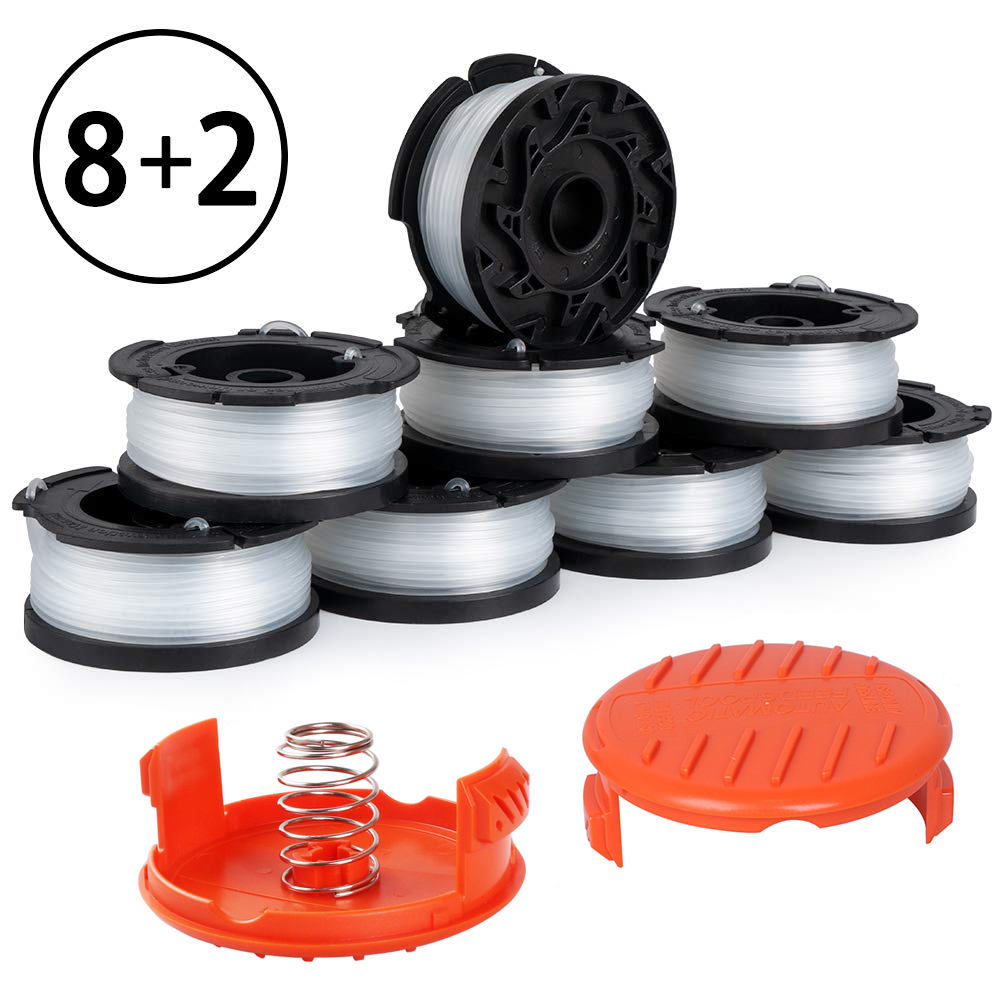 Lawn Mower Replacement Kits Grass String Trimmer Spool Line Cap Cover With Spring Auto Feed Work With AF-100 Black And Decker