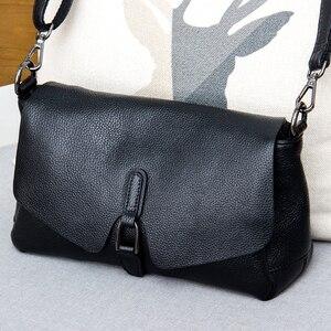 Image 1 - Сумка из натуральной кожи, новинка 2019, кожаная сумка мессенджер через плечо, женская модная переносная сумка из натуральной кожи первого слоя