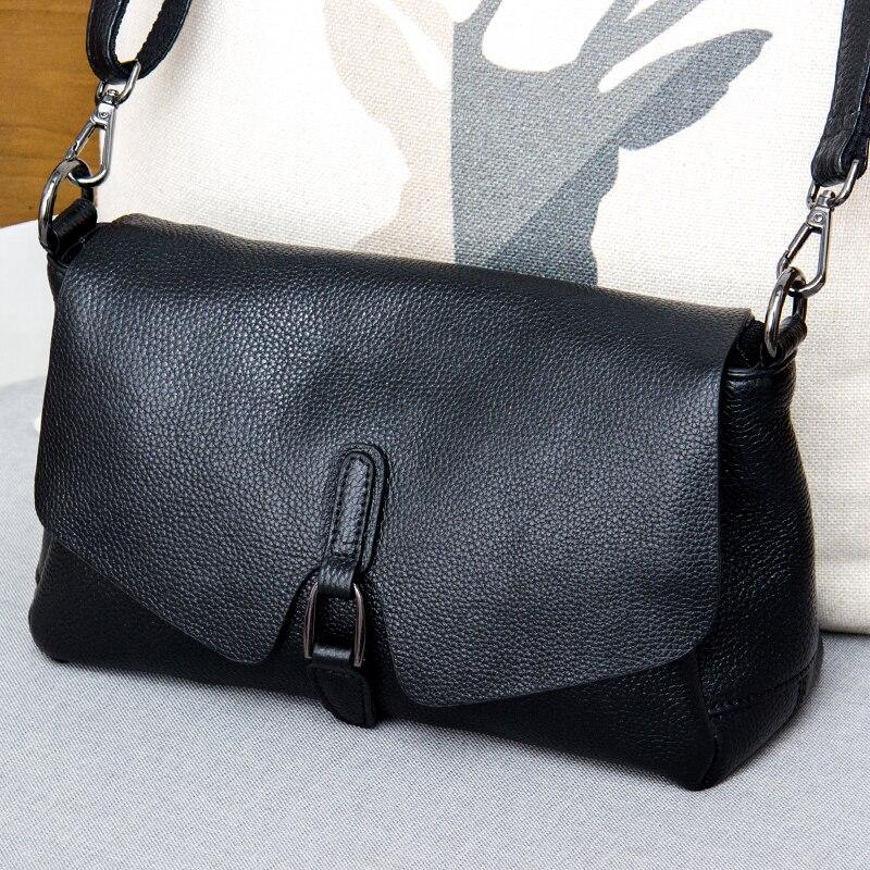 Bolsa de couro puro 2019 novo ombro Mensageiro saco de moda feminina selvagem textura de couro primeira camada de couro saco portátil