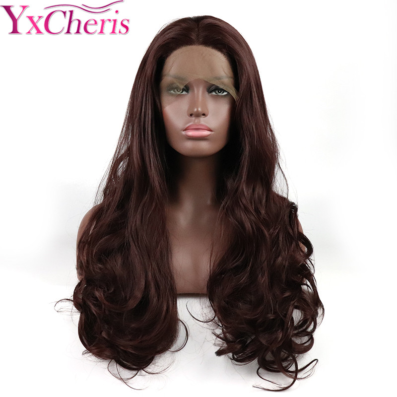 Body Wave lace frontal Wig Synthetic Long Wavy Lace Wigs For Women bug brown color Heat Resistant Fiber