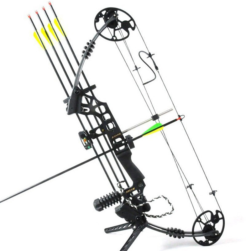 Dream Aluminum Alloy Compound Bow M120 with 20-70 Lbs Draw Weight Camo/Black Color for Human Archery Shooting Hunting 20 70 lbs compound bow 17 29 inch by aluminum alloy in 3 color for outdoor archery hunting shooting