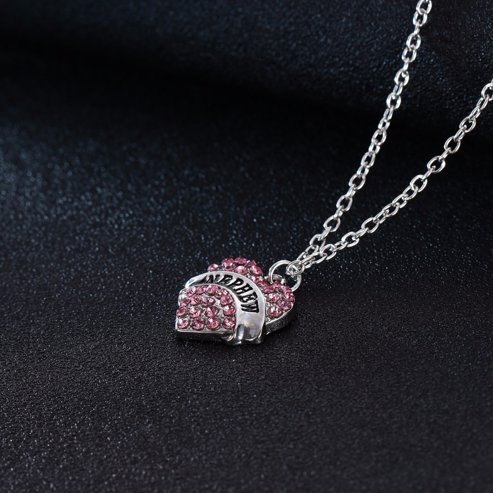 Special Family Gift Nephew Clear Pink Crystal Love Heart Pendant Charm Chain Necklace Women Birthday Party Gift Souvenir Jewelry