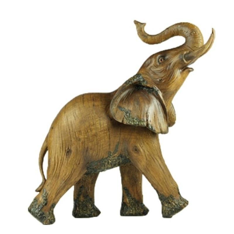 Faux Wood Animal Decorative Figurine Elephant Statue Art Sculpture Colophony Crafts Home Decoration 15 Inches R529Faux Wood Animal Decorative Figurine Elephant Statue Art Sculpture Colophony Crafts Home Decoration 15 Inches R529