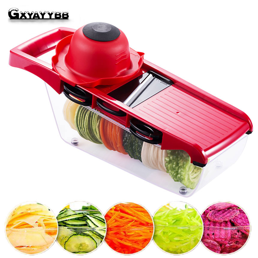 Creative Mandoline Plastic Vegetable Fruit Slicers & Cutter With Adjustable Stainless Steel Blades Carrot Potato Onion Grater