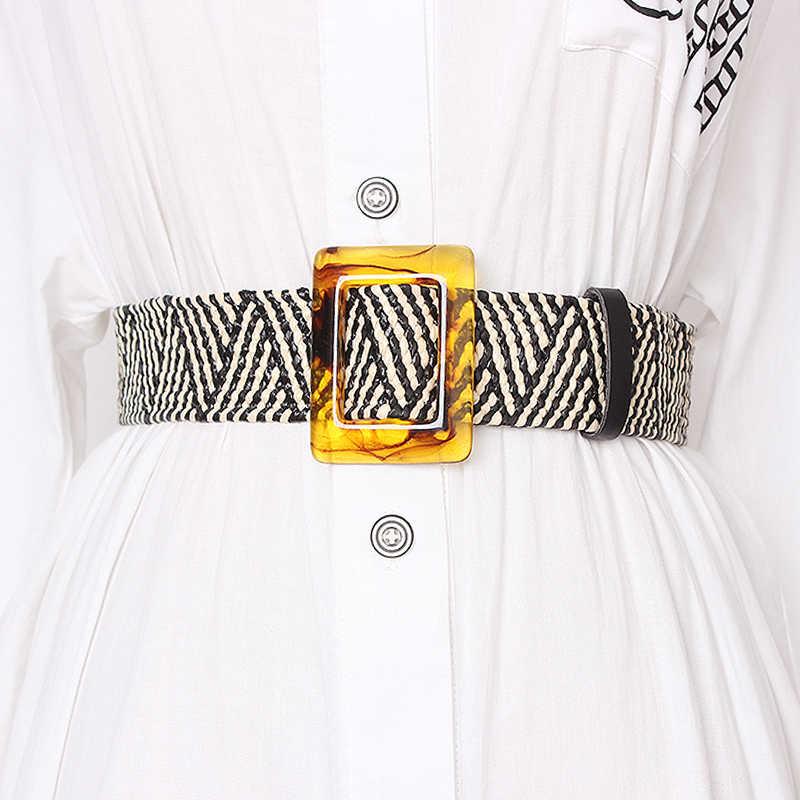 TWOTWINSTYLE летний высокий поясной утягивающий ремень для женщин полосатые широкие ремни винтажные платья Аксессуары женские 2019 модные новые