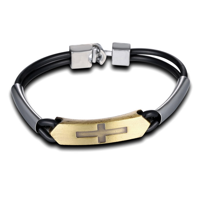 Fashion Leather Bracelets Bangles For Men Cross Bracelet Vintage Letter Engraved Jewelry S Gifts In Chain Link From